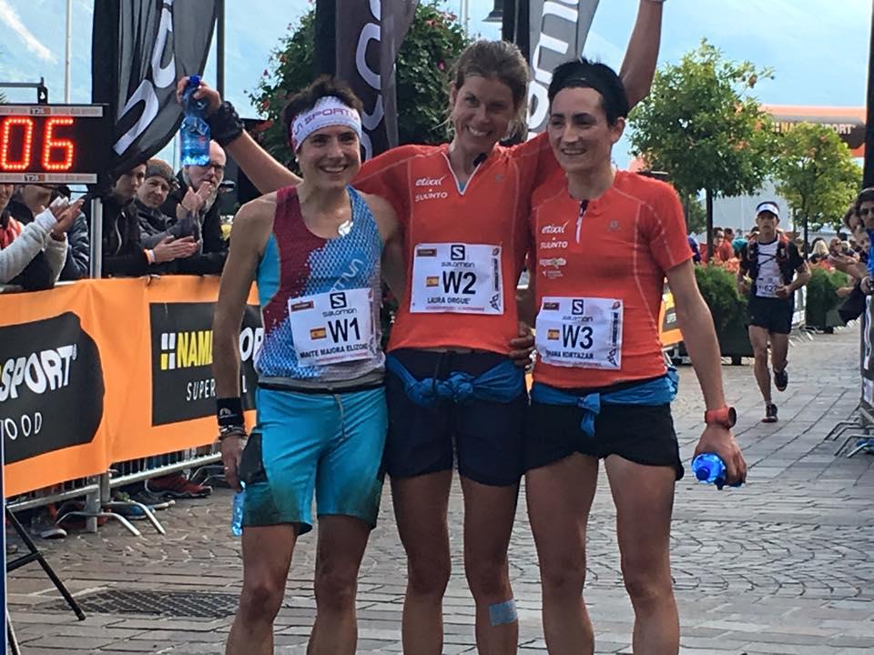 El podio español de la Skyrace de la Limone Extrem con Oihana Kortazar, Laura Orgué y Maite Maiora. (Copyright/ Albert Jorquera).